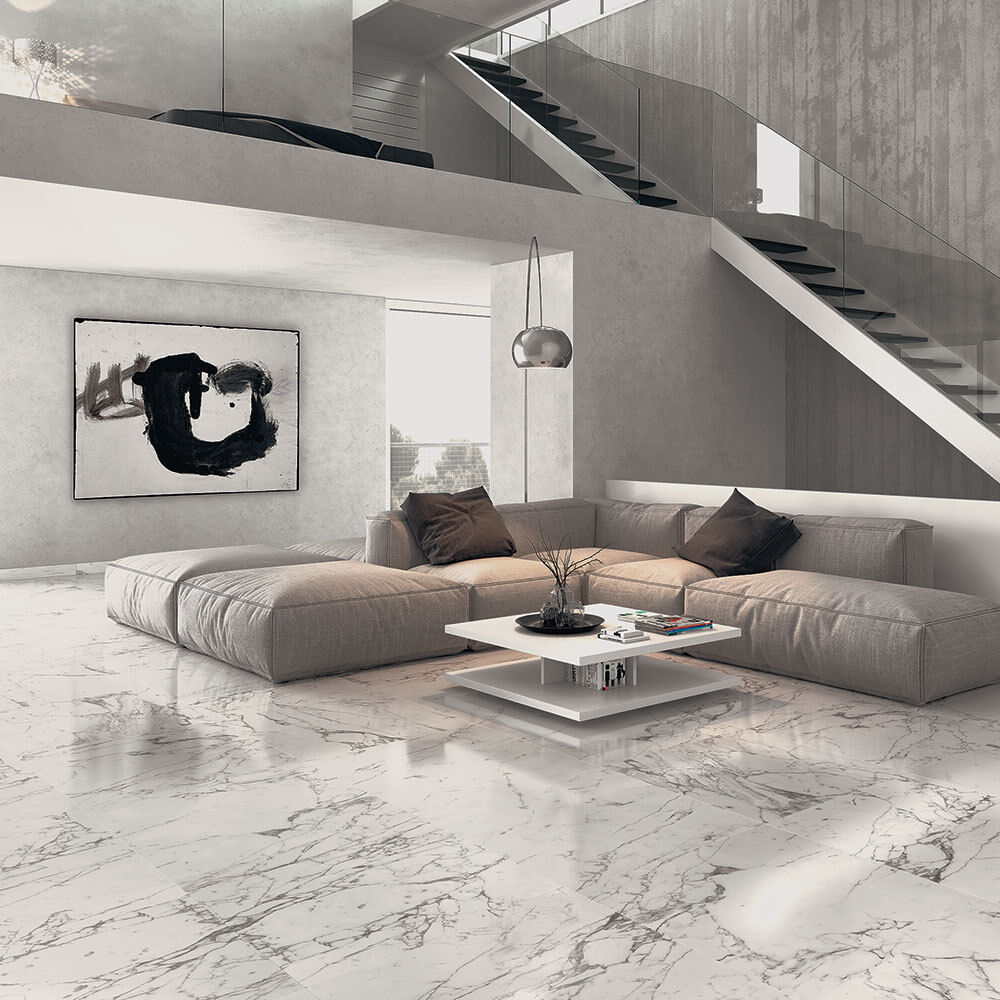 Arabescato veined white marble effect polished porcelain floor how about these arabescato veined white marble effect 600x600 polished tiles part of our selection of cachet marble effect tiles they consist of dailygadgetfo Gallery