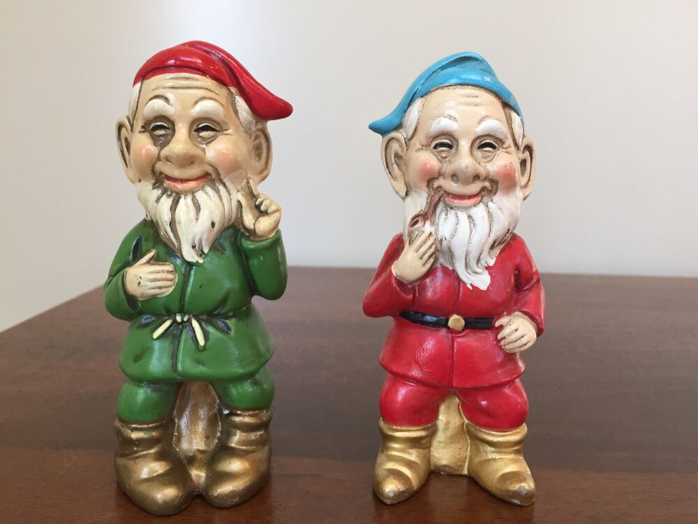 Vintage christmas gnome elf paper mache figurines