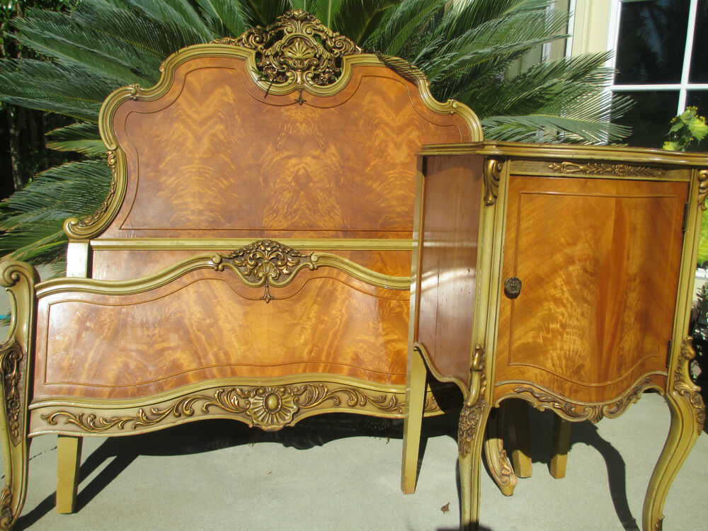 French Style Bedroom Set: Antique French VICTORIAN Style Carved Satin Wood Bedroom
