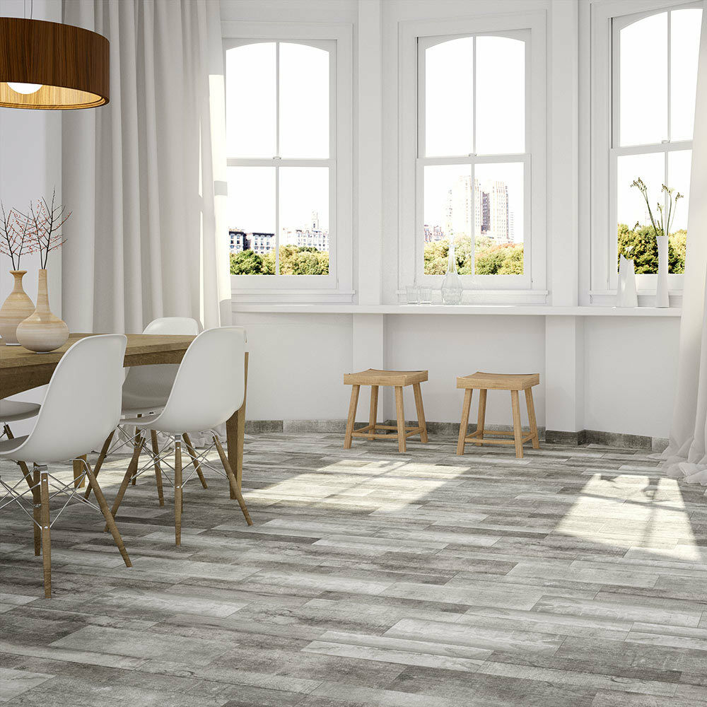 Abrade Argent Sanded Grey Wood Effect Ceramic Floor Tile 500x175x8mm