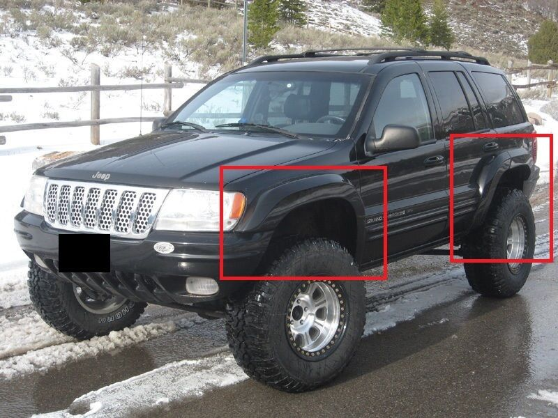 jeep grand cherokee wj 1999 2004 wheel arch fender flares extensions new ebay. Black Bedroom Furniture Sets. Home Design Ideas