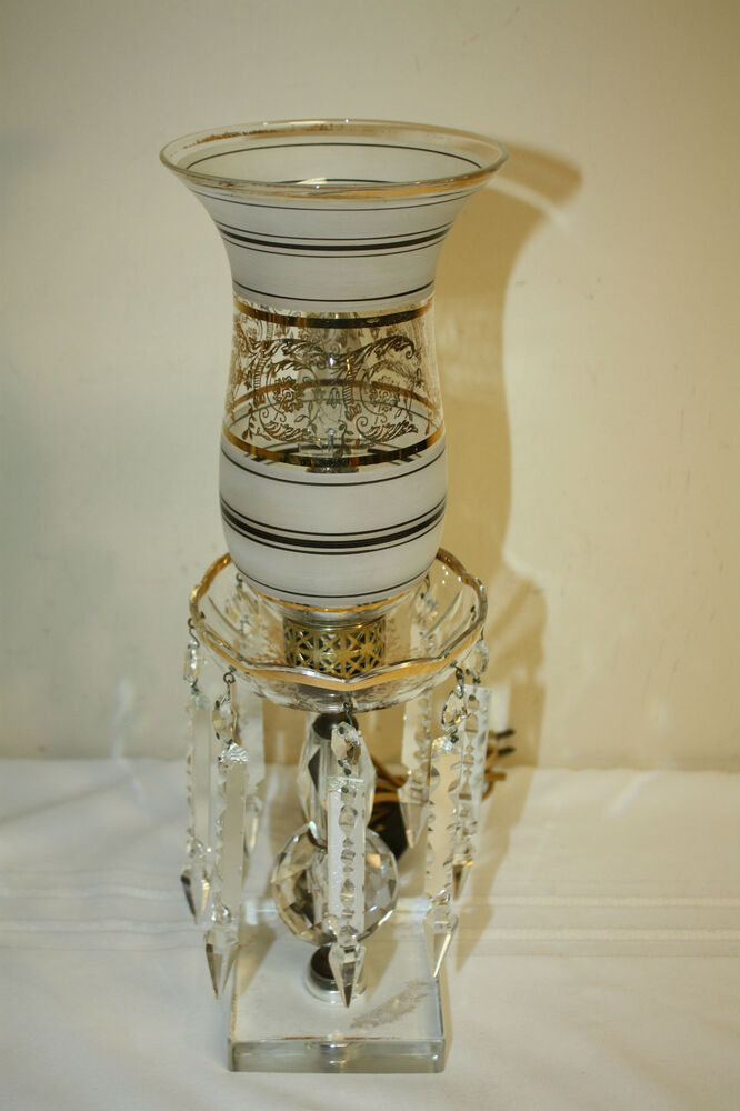 Vintage Drop Crystal Prism Gold Accent Hurricane Shade