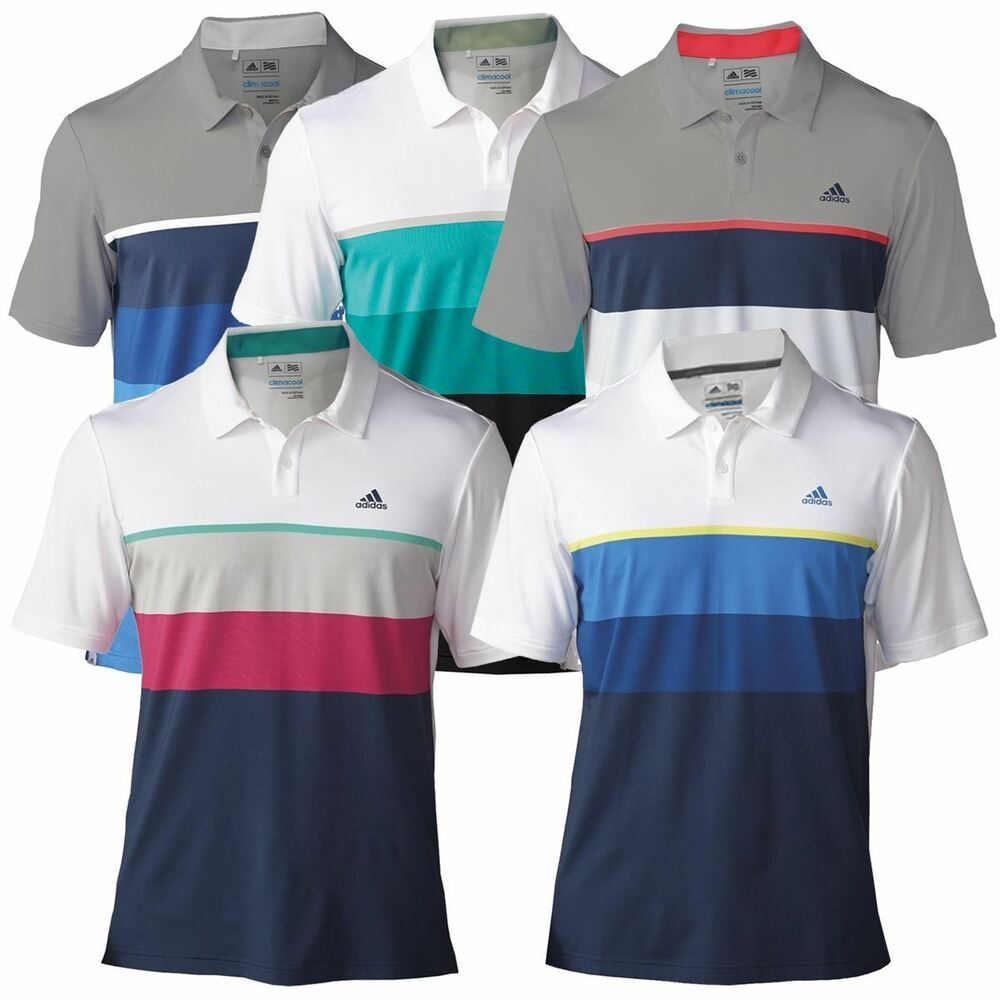 adidas golf mens climacool engineered striped golf polo shirt ebay. Black Bedroom Furniture Sets. Home Design Ideas