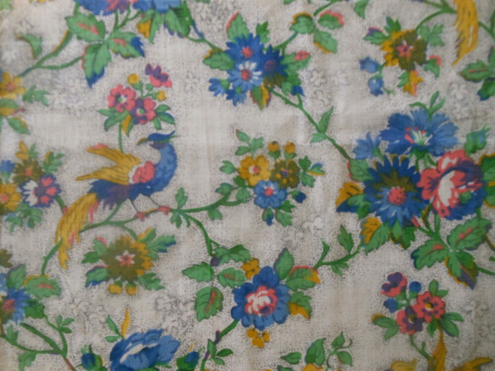 Antique Exotic Bird Floral Roses Cotton Fabric ~ Yellow