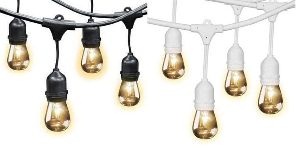 Feit Outdoor Weatherproof String Light Set, 48 ft, 24 Light Sockets, 36 Bulbs eBay