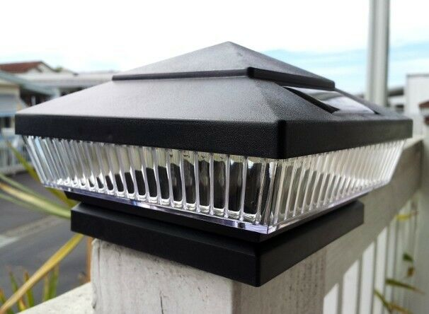 "2-Pk 4""X4"" Solar Black Post Deck Cap Square Fence Lights 5"