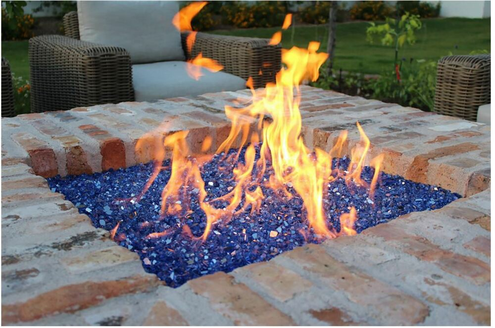 Exotic Cobalt Blue Reflective Tempered Glass Gas Fire Pit