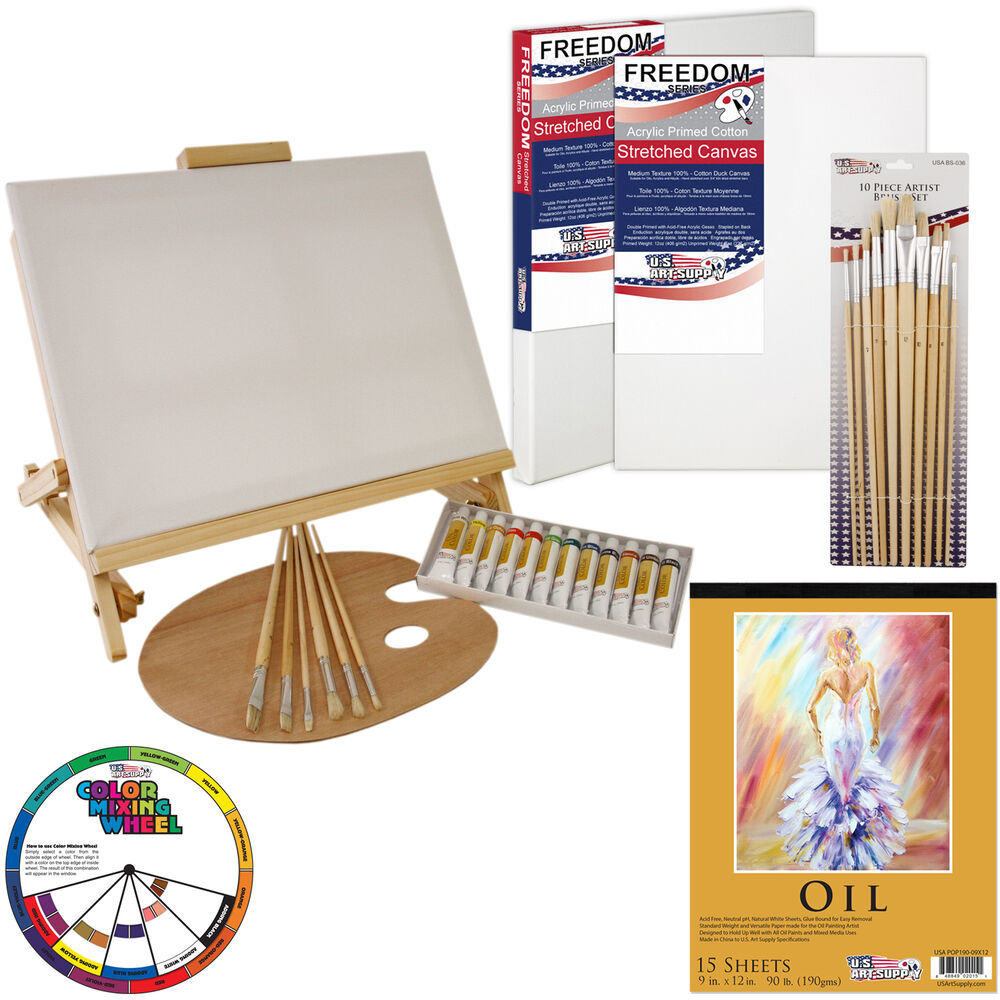 35 piece oil painting table easel set with paint canvas for Homedepot colorsmartbybehr com paintstore