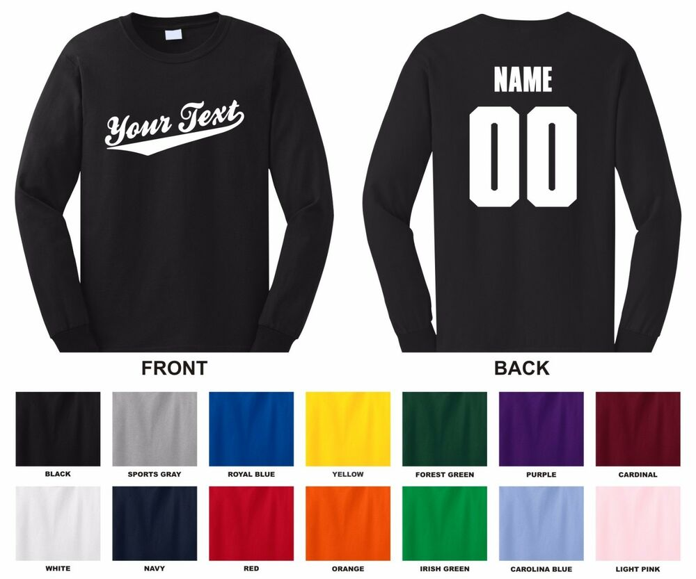 Personalized your text name number adult long sleeve t for Personalized long sleeve t shirts