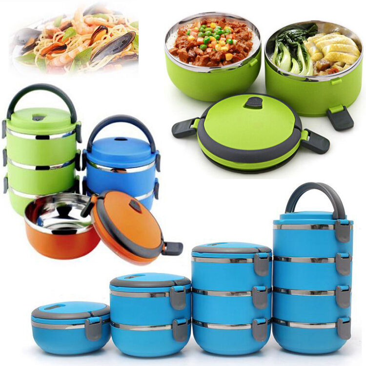round 1 2 3 4layer durable stainless steel lunch box bento picnic food container ebay. Black Bedroom Furniture Sets. Home Design Ideas