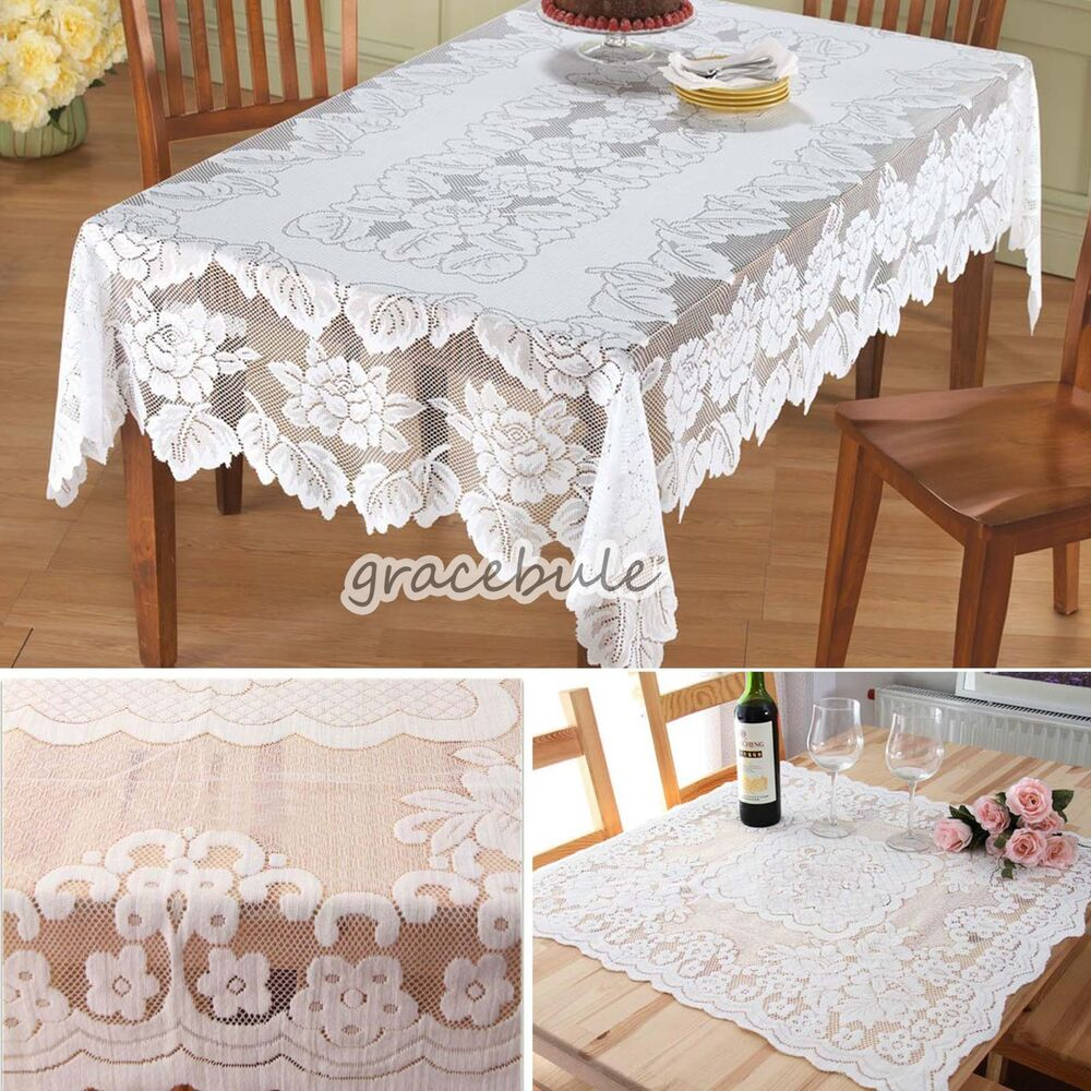 New ivory rectangular lace tablecloth for banquet party for Lace home decor