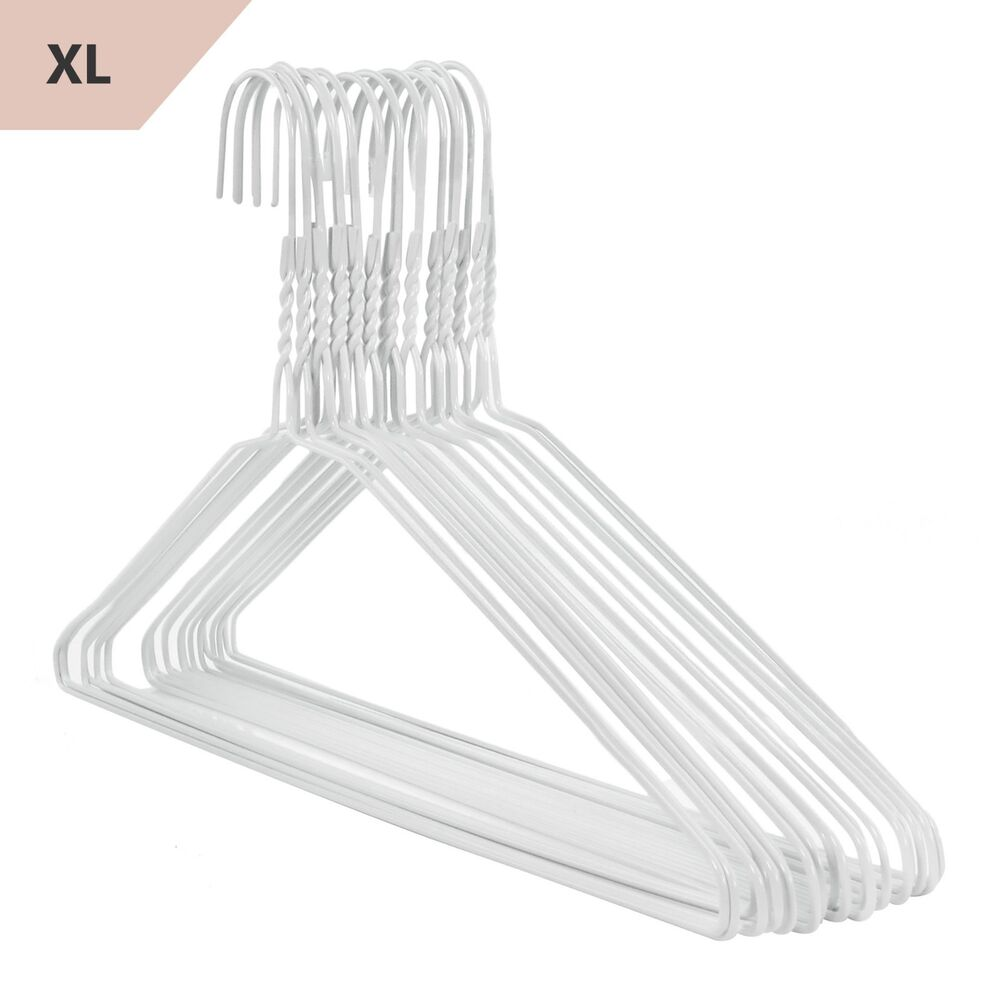 Extra wide white large wire metal clothes pant hangers for What to do with extra clothes hangers
