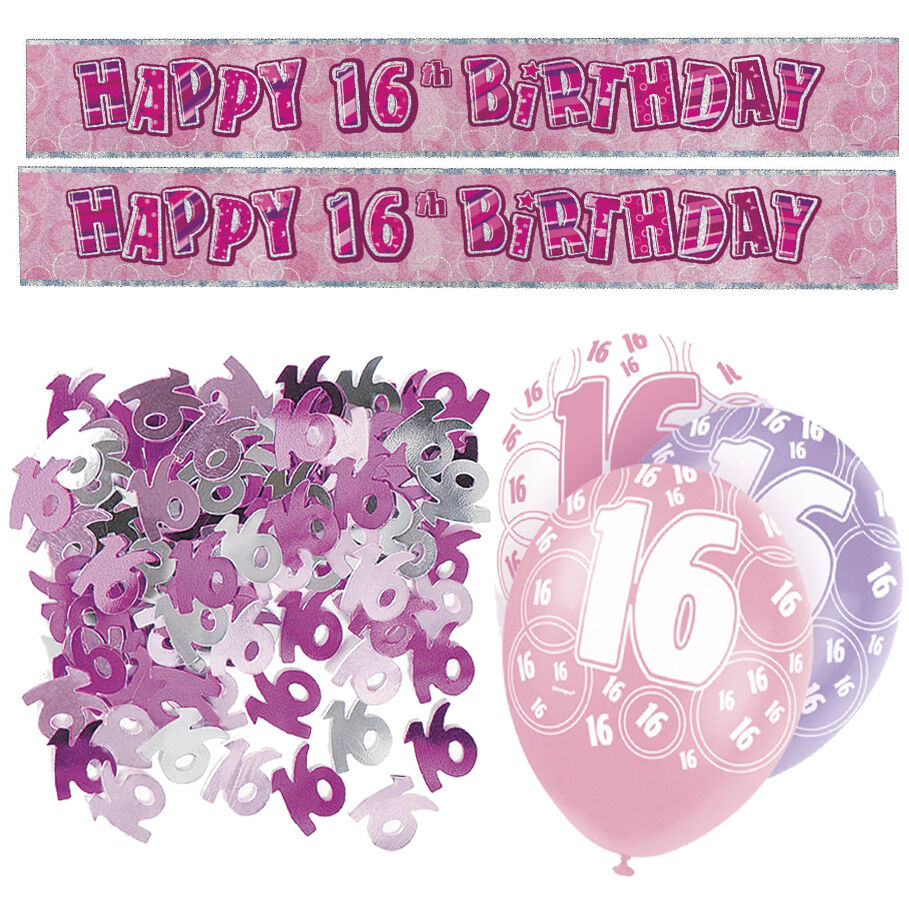 Pink 16th Birthday Banner Party Decorations Pack Kit Set