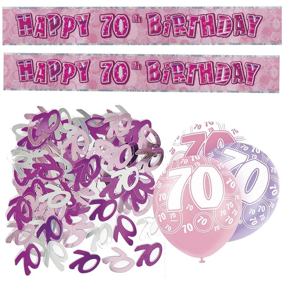 Details About Pink 70th Birthday Banner Party Decorations Pack Kit Set Balloons Glitz Girl