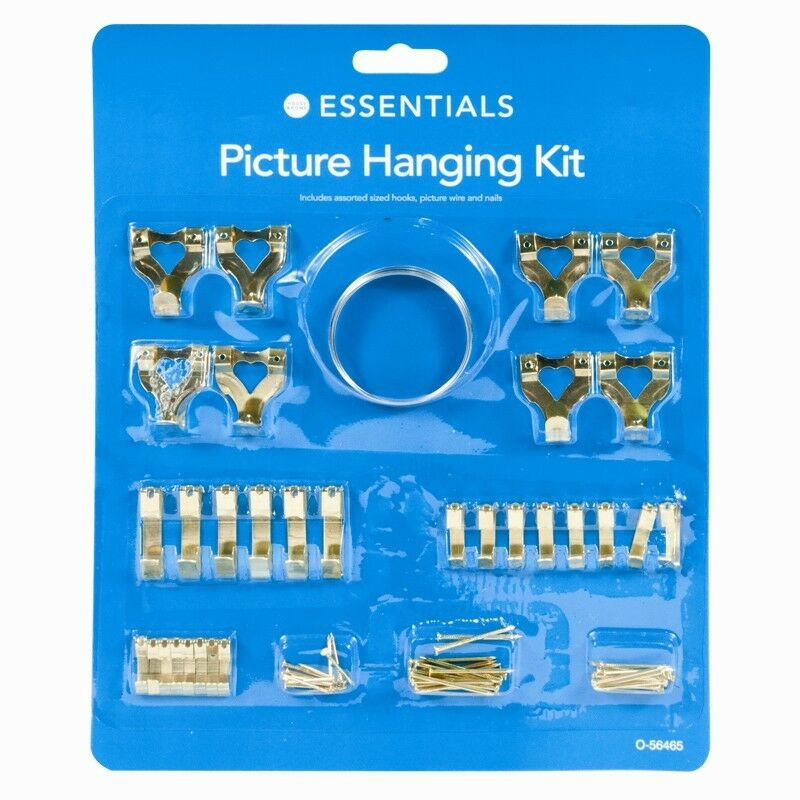 60 Assorted Picture Hanging Kit Mirror Hook Set Wall Mounted Picture ...