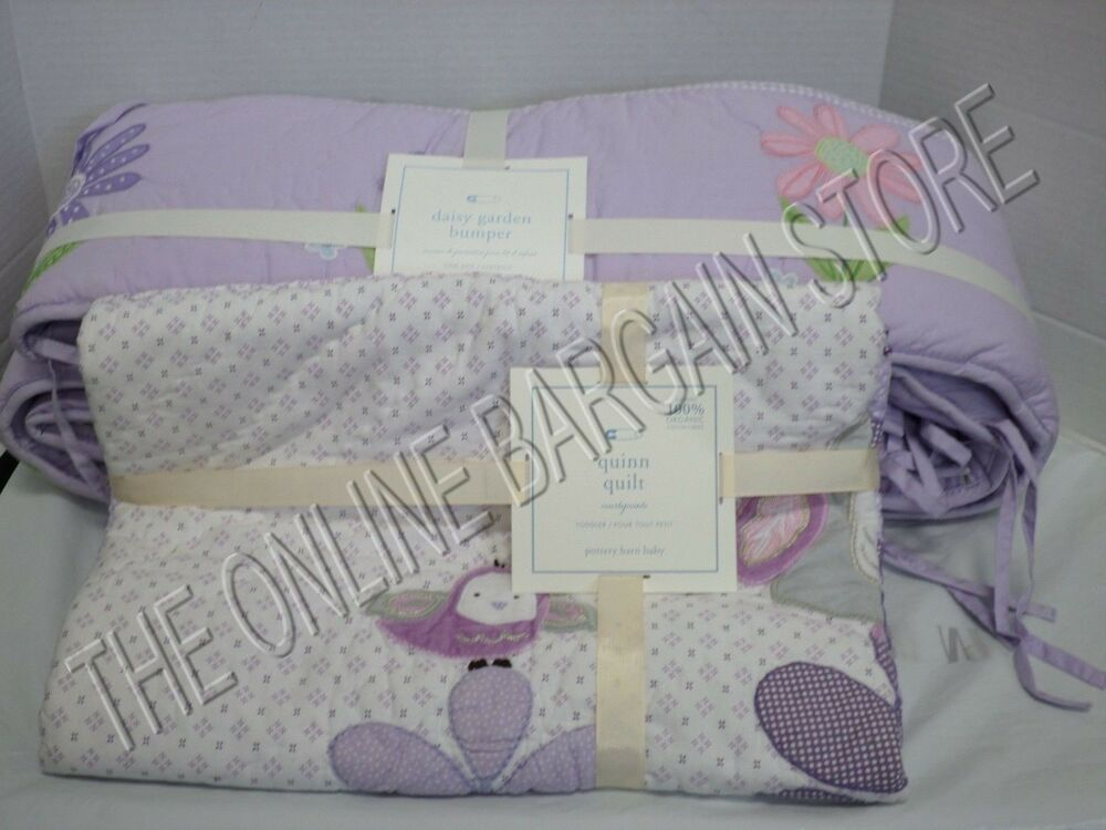 pottery barn kids baby nursery crib baby daisy garden bumper quinn quilt 2 pcs ebay. Black Bedroom Furniture Sets. Home Design Ideas