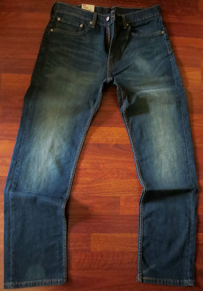 levi 39 s 505 straight leg jeans men 39 s size 36 x 30 vintage distressed dark wash ebay. Black Bedroom Furniture Sets. Home Design Ideas