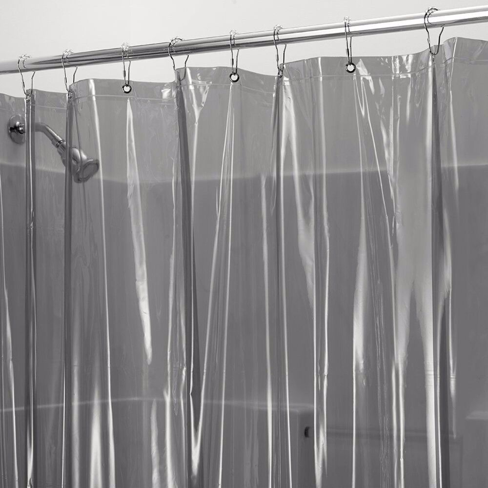 Heavy Vinyl Shower Curtain Liner In Smoke Extra Long 72x84