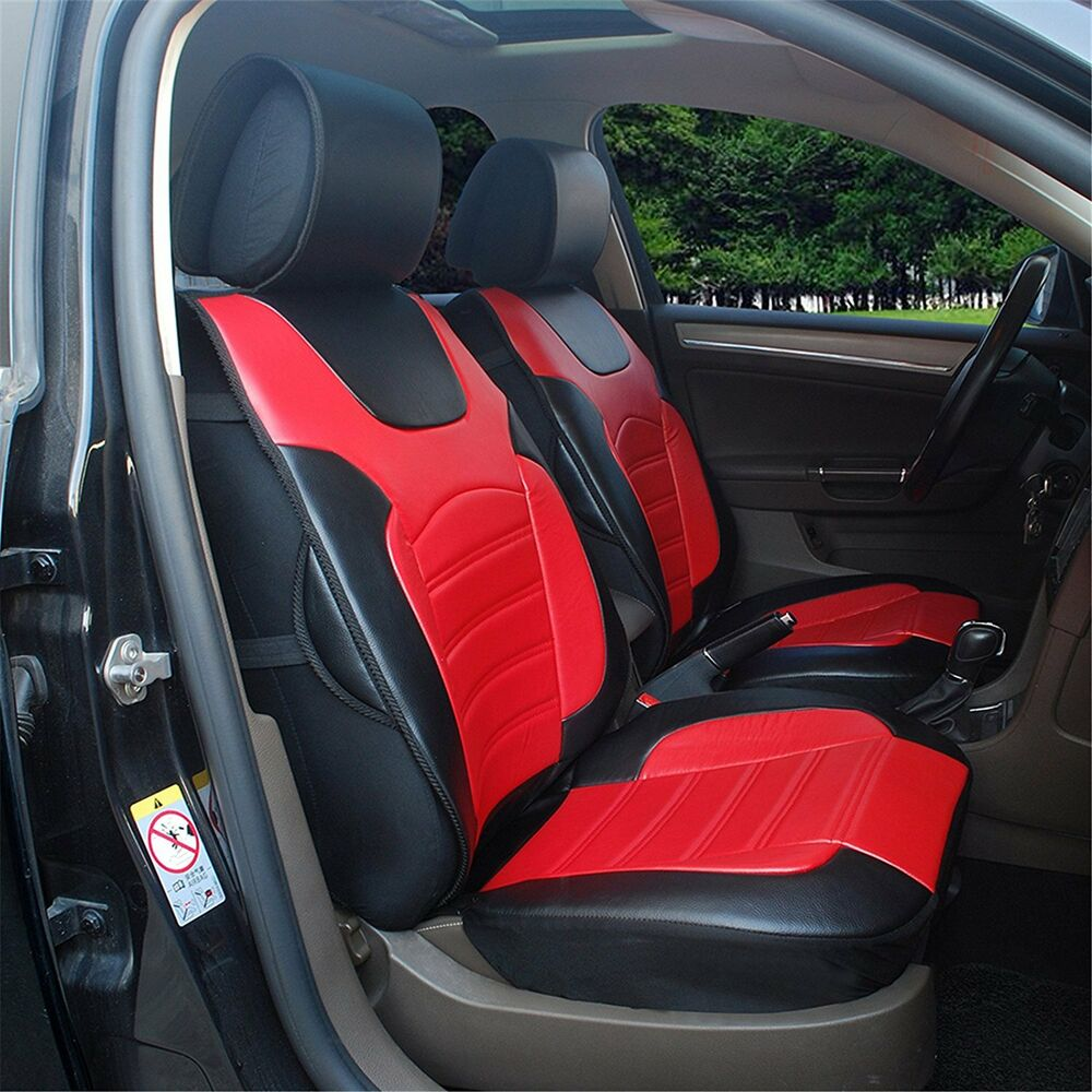 2 front car seats covers cushions red black pu leather for dodge 802e ebay. Black Bedroom Furniture Sets. Home Design Ideas