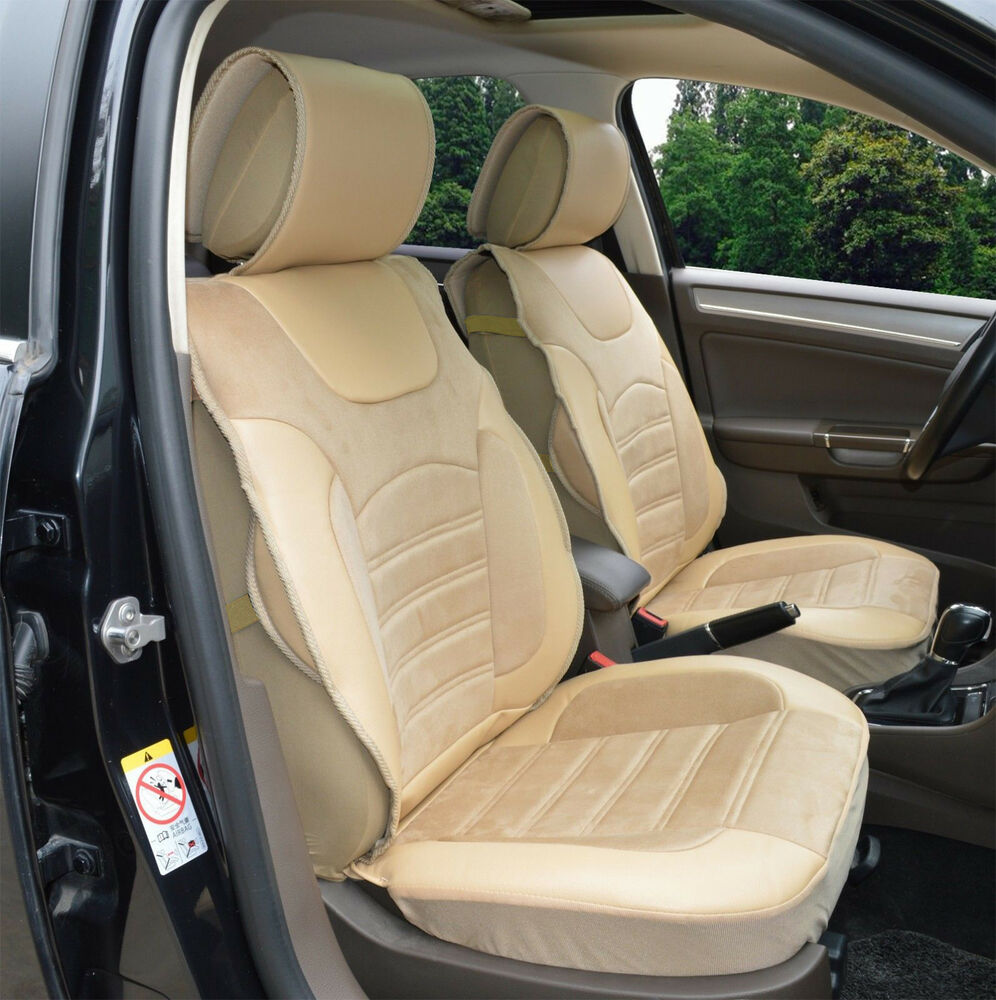 2 front auto car seat cover cushions leather like for mercedes benz 802 tan ebay. Black Bedroom Furniture Sets. Home Design Ideas