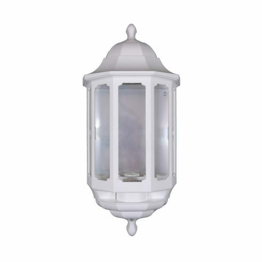 White asd half lantern outdoor outside wall light with dusk to dawn photocell ebay for Exterior wall lights with photocell