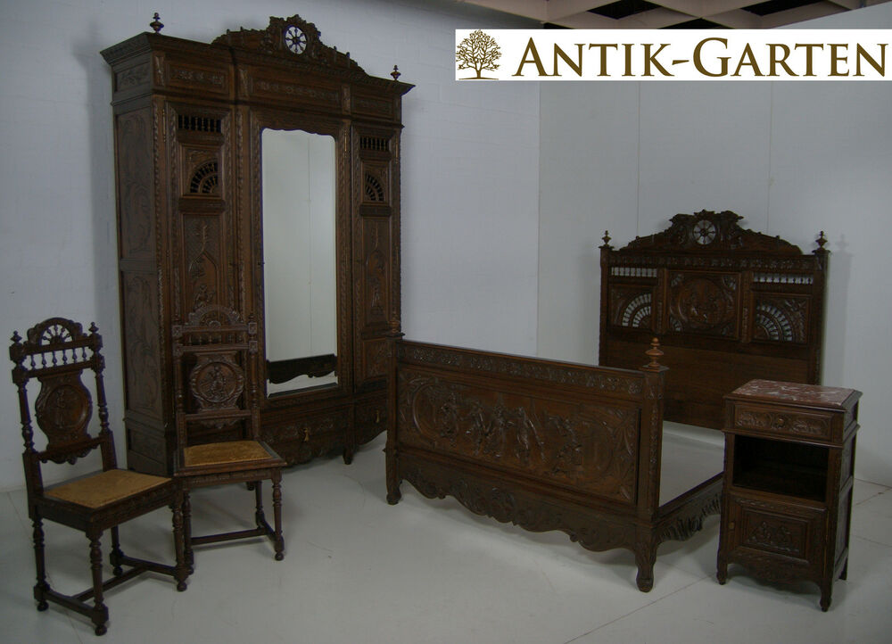antik bretonisches schlafzimmer komplett um 1900 frankreich kastanie massiv ebay. Black Bedroom Furniture Sets. Home Design Ideas