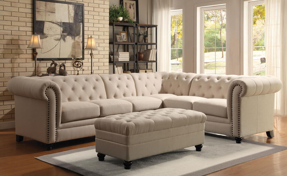 Traditional formal button tufted oatmeal sectional sofa for Drawing room furniture catalogue