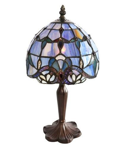 small blue glass lamp stained table style tiffany light. Black Bedroom Furniture Sets. Home Design Ideas