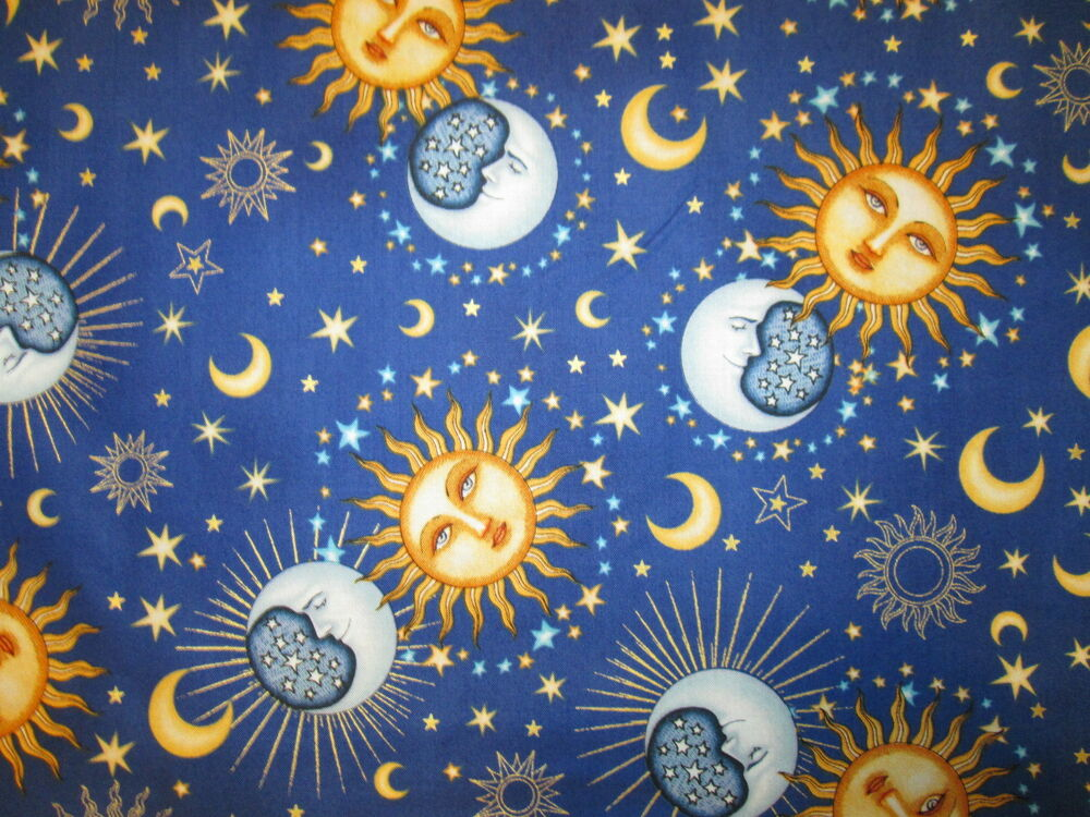 Sun moon planets stars goddess dark blue cotton fabric fq for Sun moon fabric
