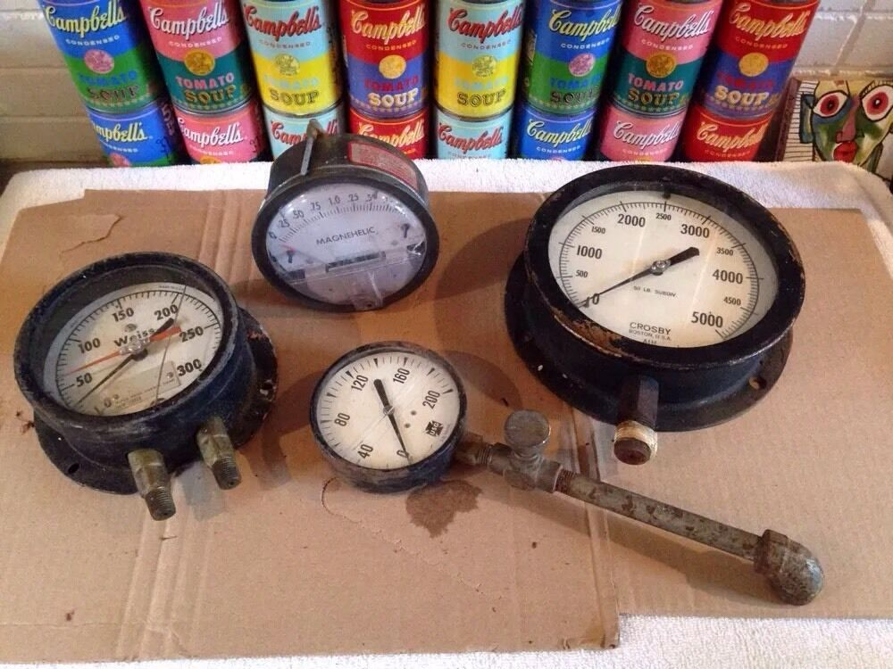 4 vintage antique pressure gauges usg weiss crosby. Black Bedroom Furniture Sets. Home Design Ideas