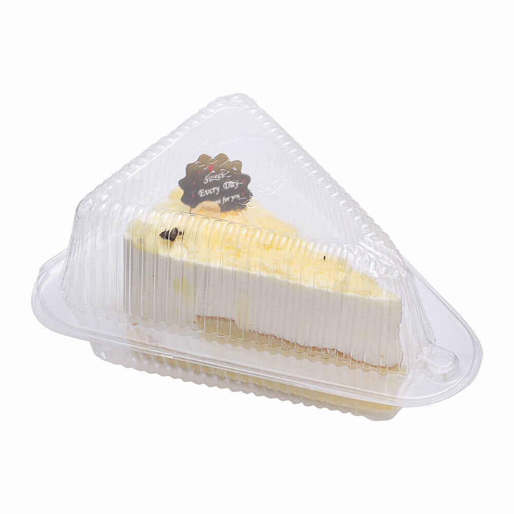 50x Transparent Cake Pie Tart Slice Wedge To Go Containers