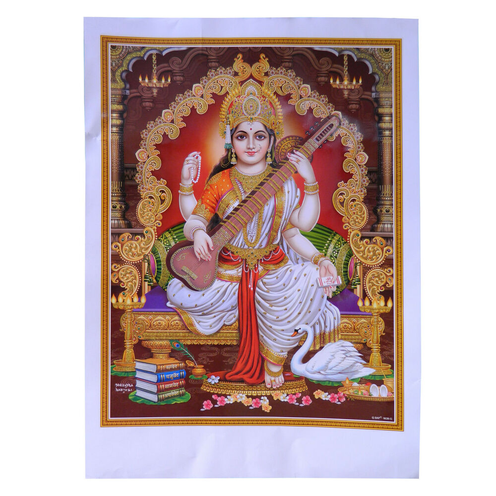 bild sarasvati 50 x 70 cm hinduismus gott kunstdruck religion spiritualit t ebay. Black Bedroom Furniture Sets. Home Design Ideas