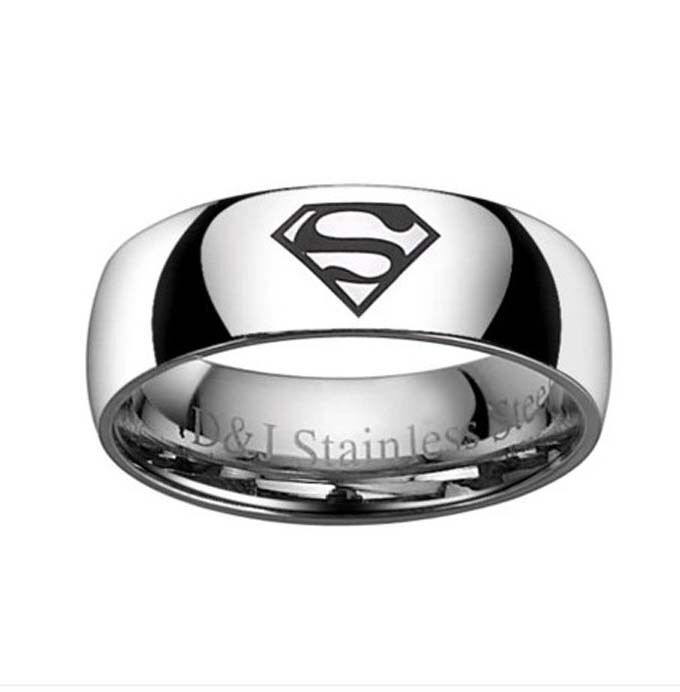 Cool Stainless Steel Rings Titanium Ring Mens Rings Wedding Bands Superman