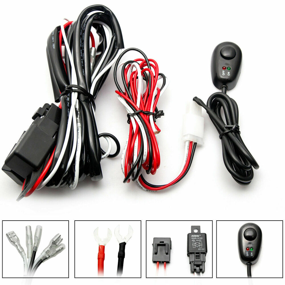 Led Light Bar With Wiring Harness : Wiring harness kit a v on off switch relay