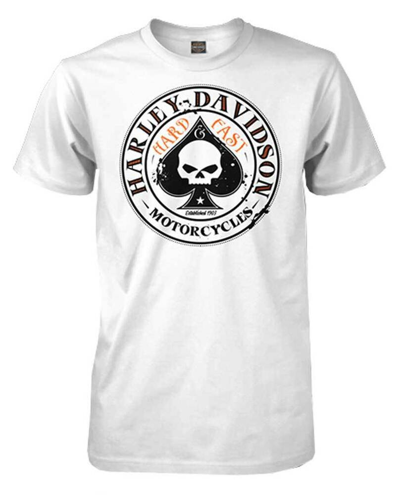 Harley davidson men 39 s spade willie g skull logo short for Stafford t shirts big and tall