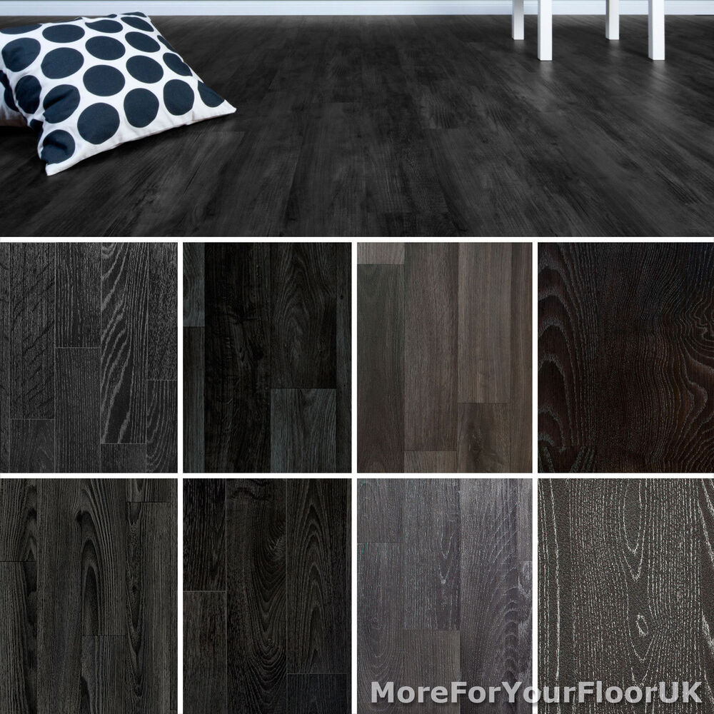 Black Vinyl Kitchen Flooring: Black Wood Plank Vinyl Flooring Realistic Style Flooring Lino Kitchen Bathroom