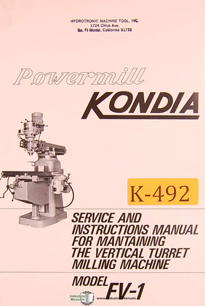 s l1000 kondia fv 1, powermill milling service and parts manual ebay  at virtualis.co