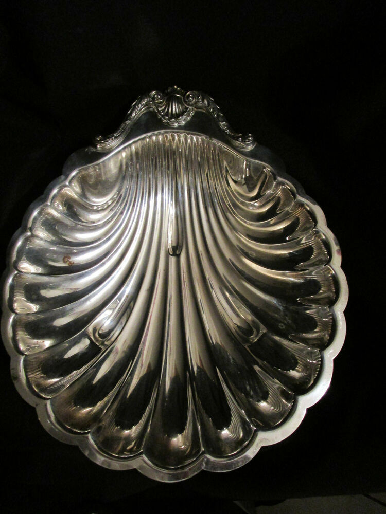 english silver mfg corp silverplate clam shell dish large 16 made in usa ebay. Black Bedroom Furniture Sets. Home Design Ideas