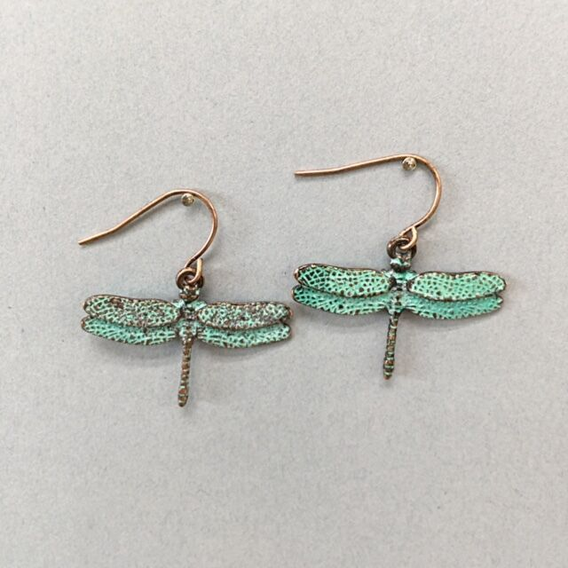 Patina copper dragonfly detailed design drop dangle style earrings ebay Design and style fashion jewelry