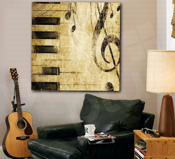 Music Notes Piano Keys Treble Clef Canvas Art Poster Print