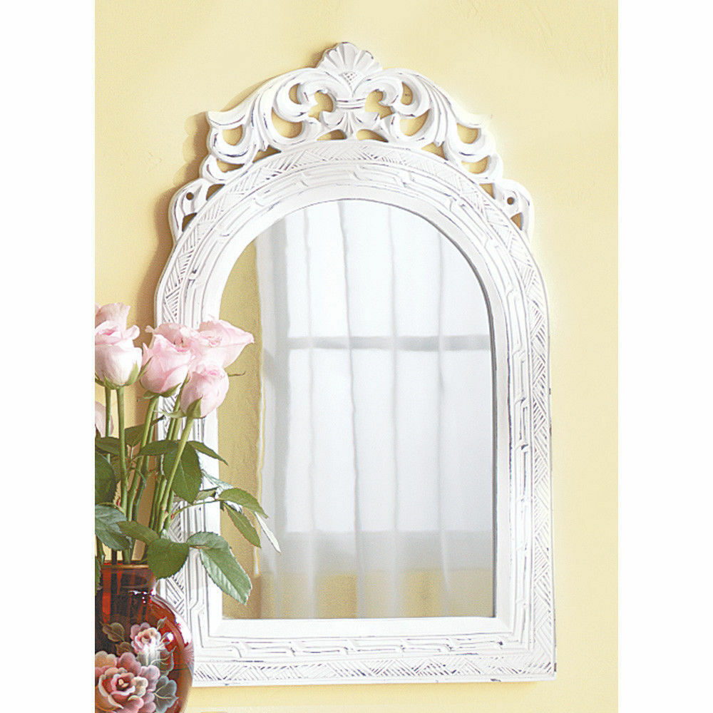 20 shabby distressed white wood wall mirror country chic home decor ebay - Home decor wall mirrors collection ...