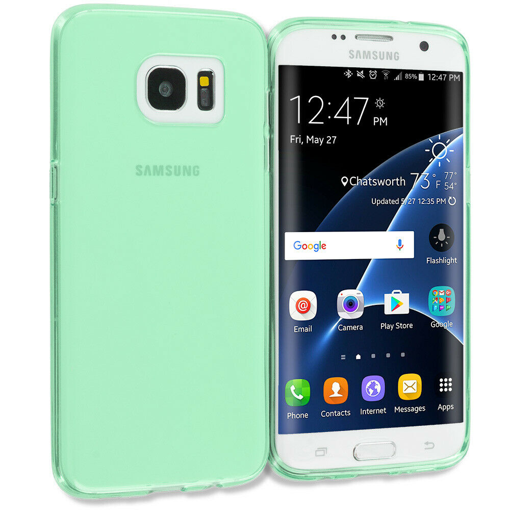 for samsung galaxy s7 edge rubber tpu case cover mint green ebay. Black Bedroom Furniture Sets. Home Design Ideas