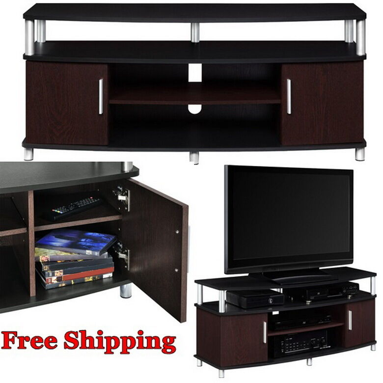 tv stand flat modern media center entertainment wood. Black Bedroom Furniture Sets. Home Design Ideas