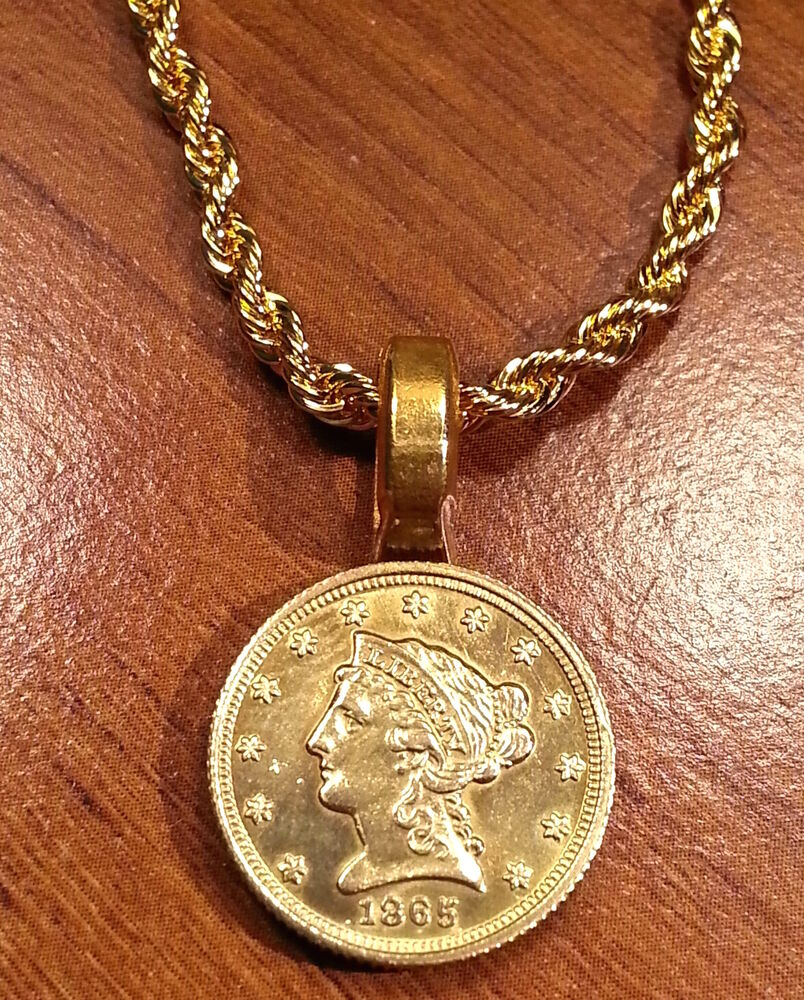 Liberty Head $2.5 Quarter Eagle Coin Gold Filled Pendant