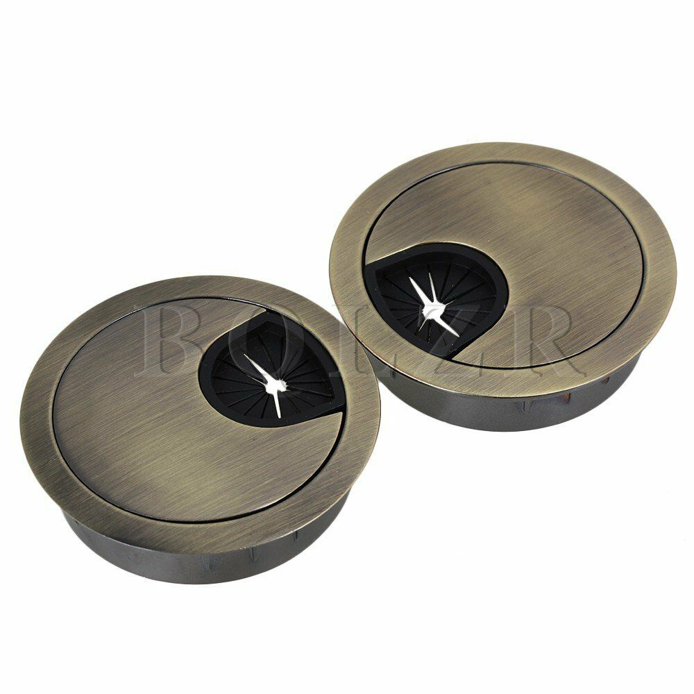 new 50mm grommet table cable computer desk wire hole cover easy install set of 2 ebay. Black Bedroom Furniture Sets. Home Design Ideas