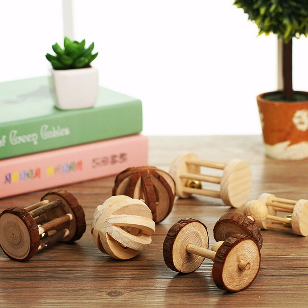 Natural Wood Dumbell Unicycle Bell Roller Chew Toys For