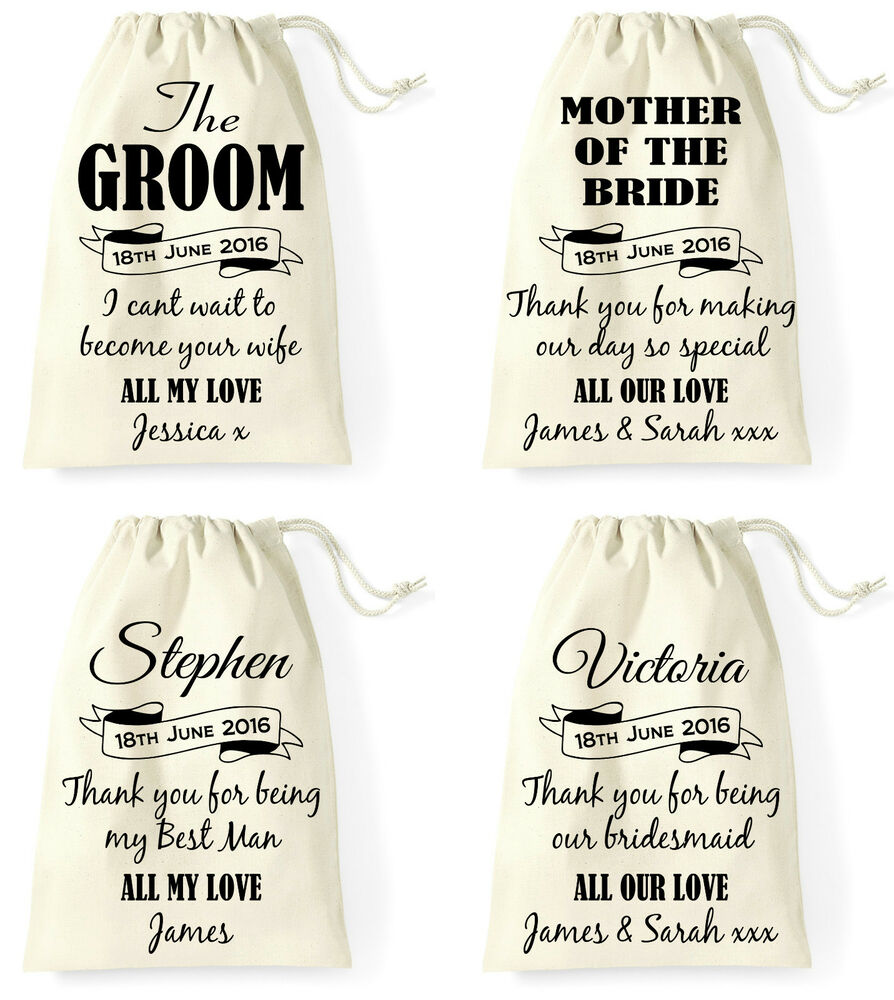 Personalised Wedding Day Gift Bag Groom Bride Best Man Bridesmaid ...