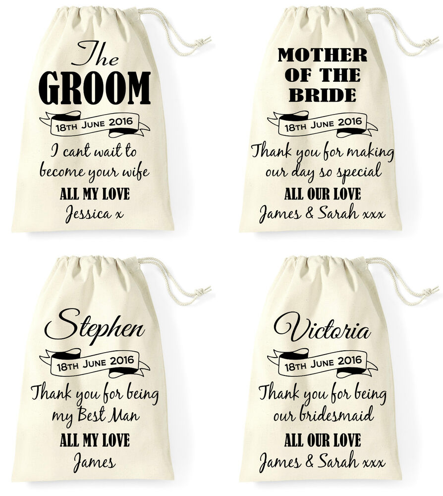 Wedding Gifts For Bride From Groom Uk : Personalised Wedding Day Gift Bag Groom Bride Best Man Bridesmaid ...