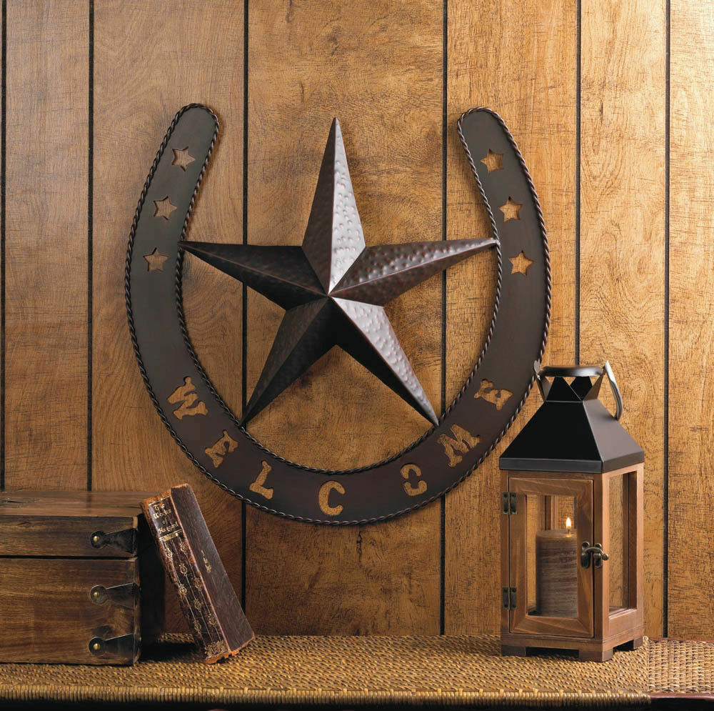 19 metal welcome texas lone star horseshoe wall art. Black Bedroom Furniture Sets. Home Design Ideas