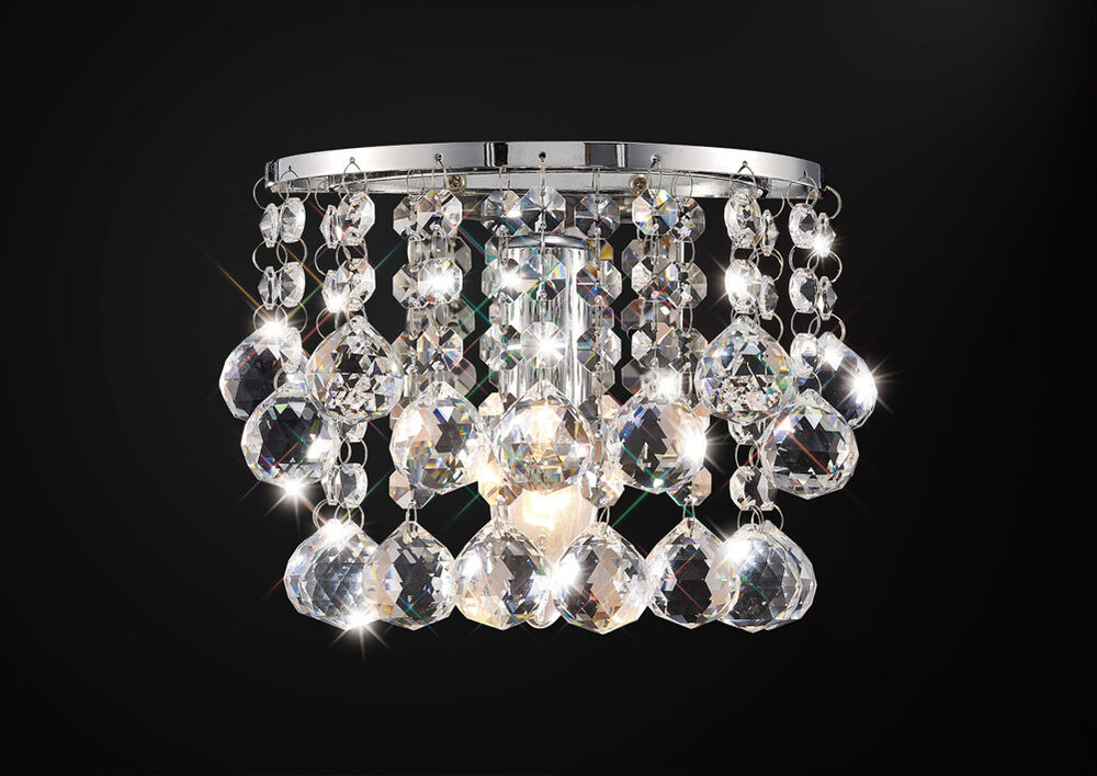 Chrome Ball Wall Lights : * SALE * Single Wall Light In Chrome With Stunning Crystal Ball Droplets 1x60W eBay
